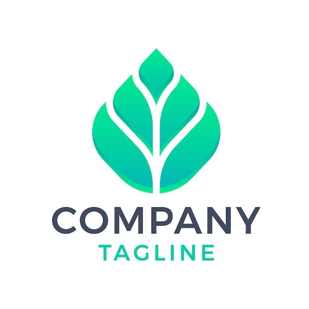 현대 간단한 잎 자연 3d 추상 녹색 그라데이션 로고 디자인