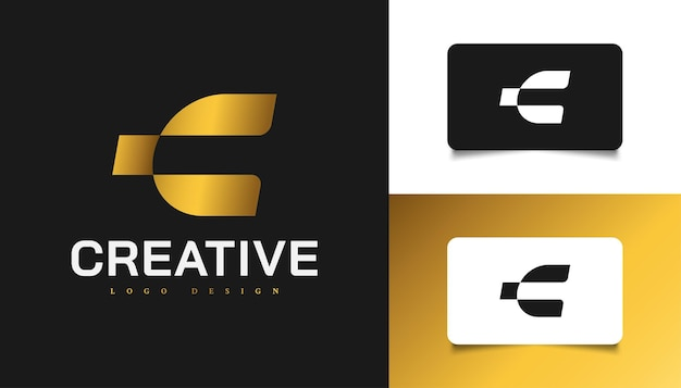Modern and simple letter c logo design in gold gradient. graphic alphabet symbol for corporate business identity