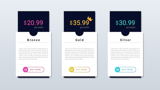 Modern and simple pricing table colorfull design, for web and mobile applicaion.