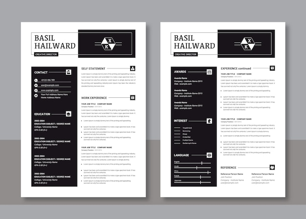 Modern simple resume template