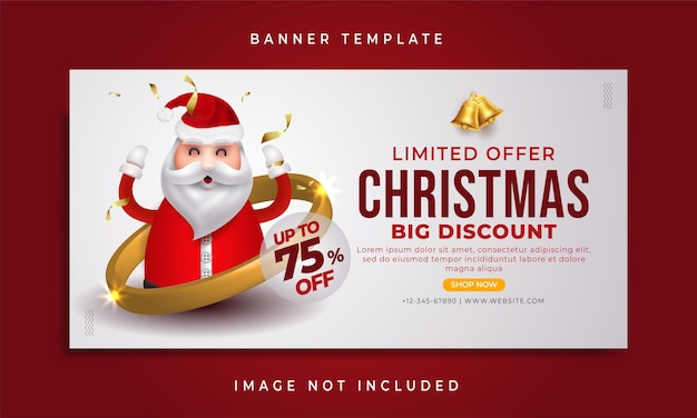 Modern simple special offer christmas sale web banner template
