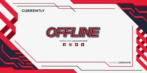 Modern simple twitch banner with abstract shapes template