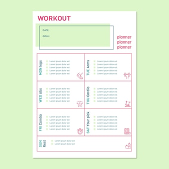 Modern simple workout sport planner