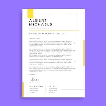 현대 간단한 노란색 알버트 편지 템플릿