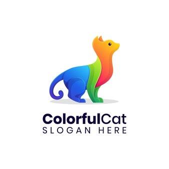現代の座っている猫のカラフルなロゴのテンプレート