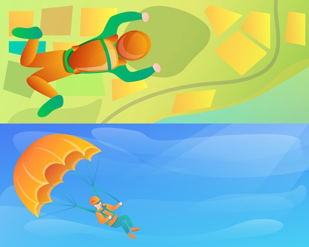 Modern skydivers illustration set on cartoon style