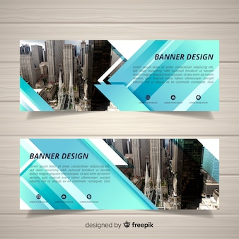 Modern skyline banners with photo