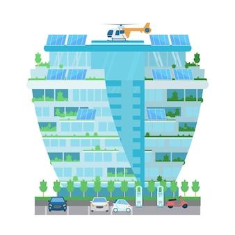 Современное здание-небоскреб с вертолетом на крыше, солнечные батареи, растения, зарядная станция для электромобилей на стоянке. умный город. плоский рисунок, изолированные на белом.