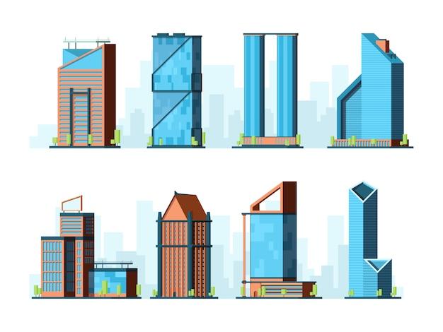 近代的な高層ビル。企業オフィスビル建設外装タワー都市コレクションフラット
