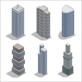 Modern skyscrapers. isometric building