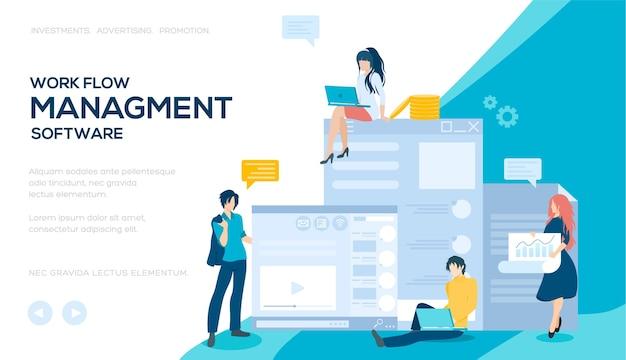 Современная страница сайта-слайдера. концепция программного обеспечения для управления рабочим процессом. баннер программного обеспечения для управления данными.