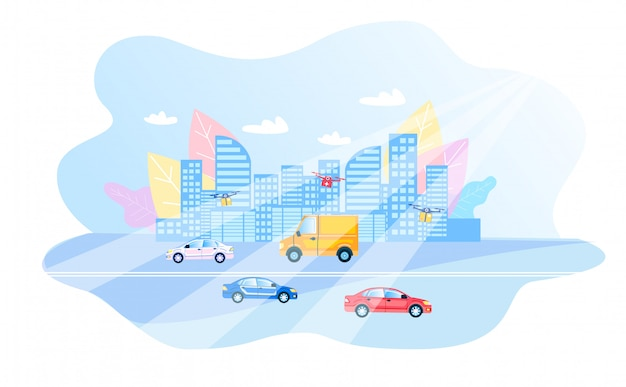 Modern smart city daily routing flat illustration