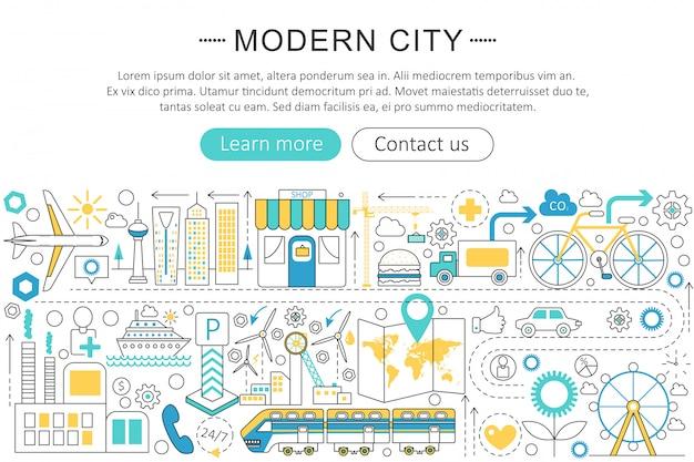 Modern smart city flat line concept