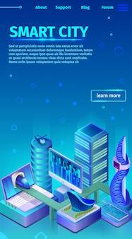 Modern smart city vertical banner on landing page.