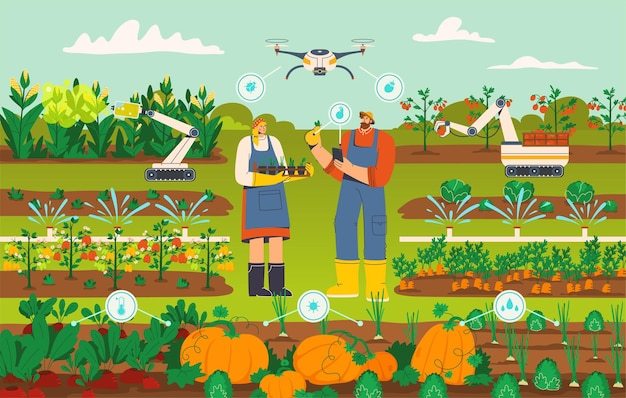 ドローンとロボットのコンセプトを備えた現代のスマート農業