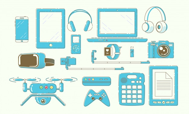 Modern smart gadgets, digital devices  set