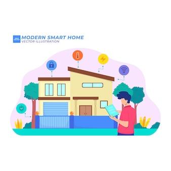 Modern smart home remote wireless energy future smart phone flat illustration