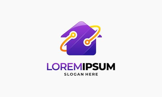 Modern smart house logo design template, house technology logo designs concept, real e