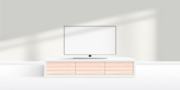 Modern smart tv mockup with blank white screen standing on furniture, modern minimalist living room.