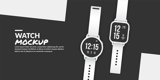 Modern smart watch mockup isolated with copy space at side
