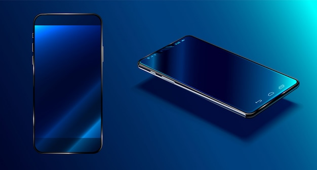 Modern smartphone  dark blue surface in perspective view with reflection, realistic 3d phone