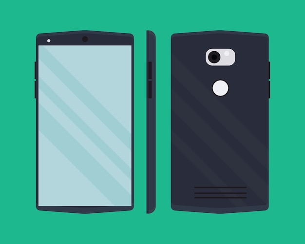 Modern smartphone in flat style.