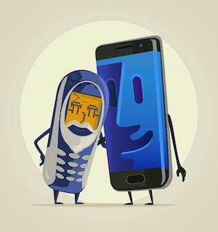 現代のスマートフォンの孫は彼の古い電話の祖父を抱きしめます
