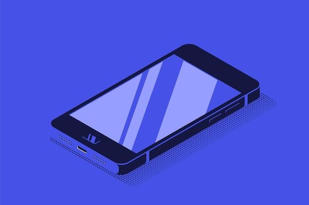 Современный смартфон в изометрической проекции. плоский стиль иллюстрации.