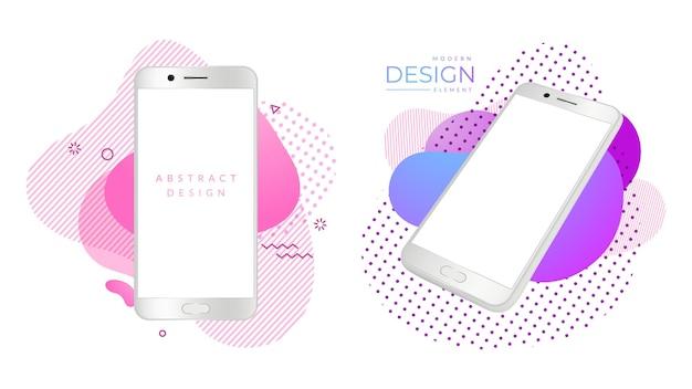 현대 스마트폰 모형. 현실적인 흰색 전화기, 밝은 추상 모양의 모바일 가제트. 광고 디자인 요소, 화면 가제트 광고, 디스플레이 기술. 벡터 일러스트 레이 션