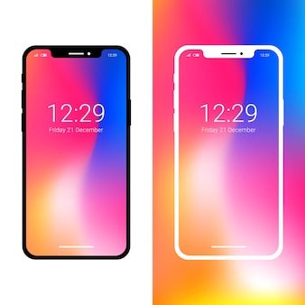 Modern smartphone mockup with notch display
