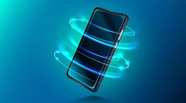 濃紺の背景の現実的な等尺性電話のモックアップまたはテンプレートの光沢のある携帯電話上の現代のスマートフォン