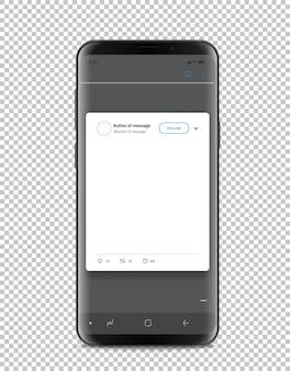 Modern smartphone template with social media post