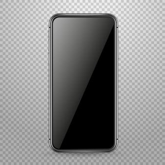 透明に分離された現代のスマートフォンベクトルモックアップ。画面にコンテンツを配置します