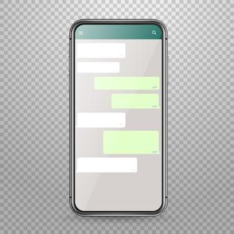 メッセンジャーアプリケーションテンプレートディスカッションテンプレートと現代のスマートフォンベクトルモックアップ