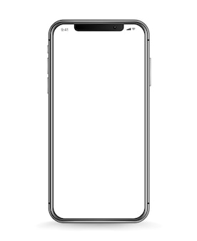 Modern smartphone with blank white screen. realistic vector illustration