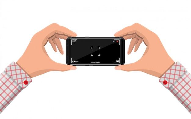 カメラアプリケーションを備えた最新のスマートフォン。