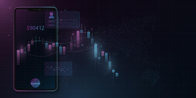 Modern smartphone with candlestick price pattern in the cryptocurrency market. world economy. user interface design. vector business concept. eps 10