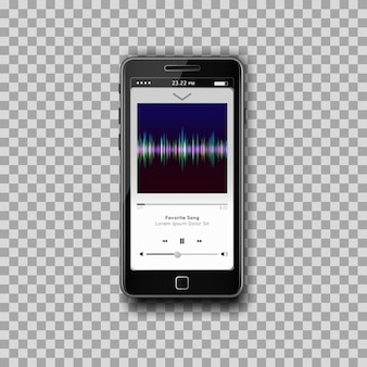Modern smartphone with musical mp3 player on screen. flat design template for mobile apps.