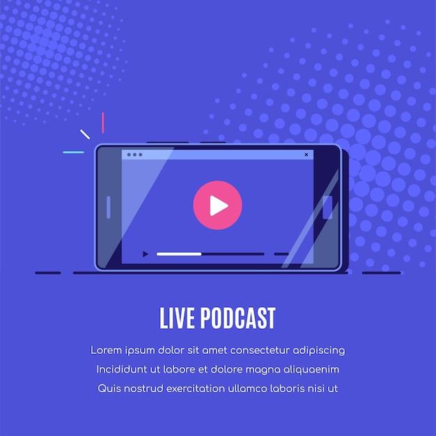 Современный смартфон с онлайн-видеоплеером на экране. мобильный стриминг, подкаст в прямом эфире, мобильное видео, тв.
