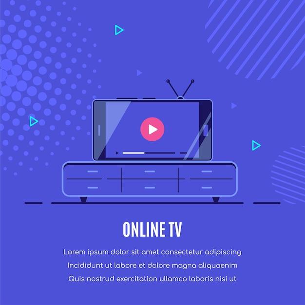 화면에 온라인 비디오 플레이어가있는 최신 스마트 폰입니다. 모바일 스트리밍, 라이브 팟 캐스트, 모바일 비디오, tv.