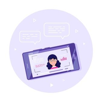 画面にオンラインビデオプレーヤーを備えた最新のスマートフォン。モバイルストリーミング、ライブポッドキャスト、モバイルビデオ