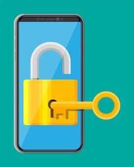 자물쇠와 열쇠가 있는 현대적인 스마트폰. 화면에 잠금이 있는 전화. 모바일 보안, 안전, 보호 개념입니다. 네트워크 및 인터넷 보안. 평면 스타일의 벡터 일러스트 레이 션