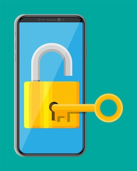Modern smartphone with padlock and key. phone with lock on screen. mobile security, safety, protection concept. network and internet security. vector illustration in flat style