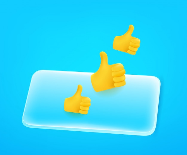 Modern smartphone with thumbs up. 3d comic style editable illustration