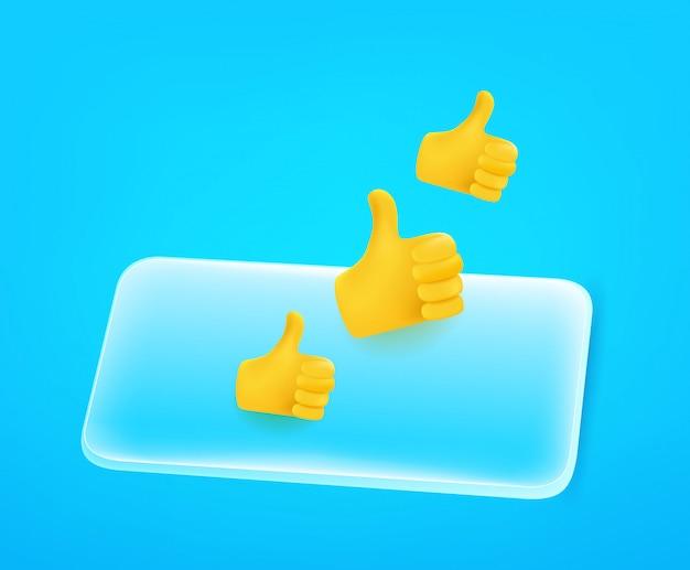 Современный смартфон с палец вверх. редактируемая иллюстрация стиля комика 3d