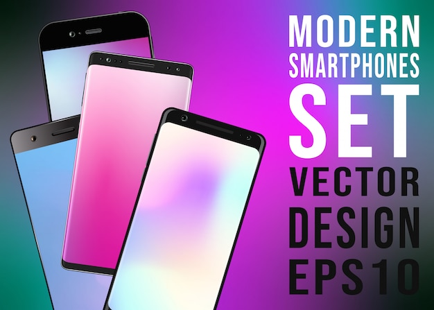 Modern smartphones with colorful gradient screensaver