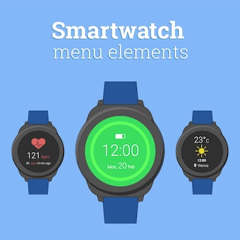 Modern smartwatch in round design with icons of weather forecast and heart rate monitor.