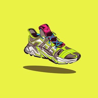 Современная иллюстрация кроссовки с поп-цветом