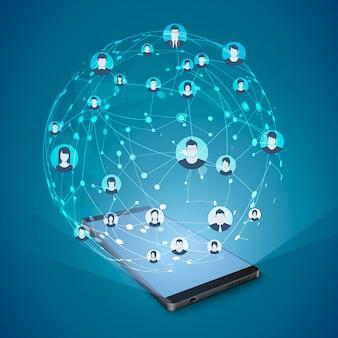 現代のソーシャルメディアの概念。モバイルインターネットとソーシャルネットワーキング。