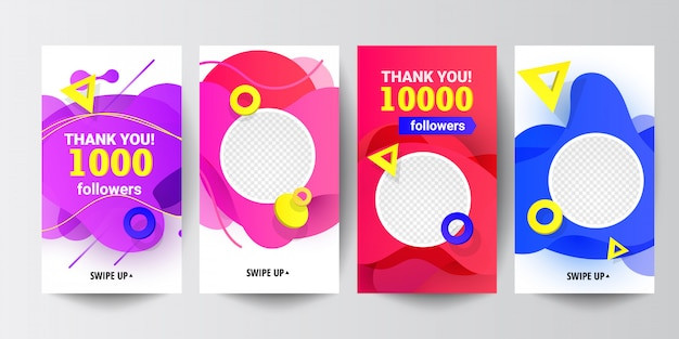 Modern social media follow us banner set with liquid gradient shapes, with triangular speed round decor elements